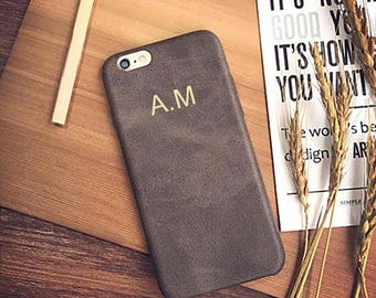 Personalised Brown Vintage PU Leather Phone Case for Apple iPhone 5 6 6s 7 8 10 X Plus Embossed Name initials Customized Cover Monogram