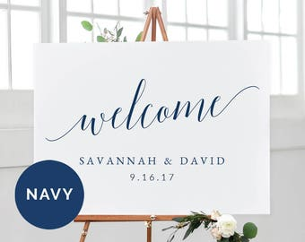 Navy Wedding Welcome Sign Template   Printable Welcome Wedding Sign   DIY Navy Wedding Sign Printable   Horizontal Landscape Wedding Sign