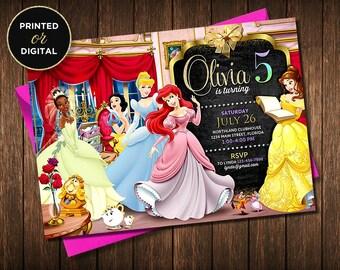 Disney Princess Invitation, Disney Princess Birthday Invitation, Princess Invitation, Princess Invitation Birthday, Girl Birthday Invitation