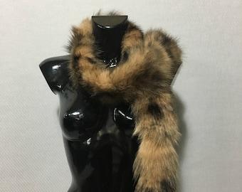 Brown-Black  Real Fox Fur Scarf