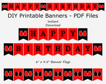 Sale Happy Birthday Banner - Red & Black - Boxing Glove - Boy Party - DIY Printable - INSTANT DOWNLOAD