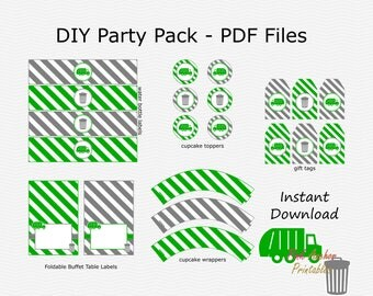 Sale Garbage, Trash Can Party Pack - Medium Grey & Green - Birthday Party Pack - DIY Printable - INSTANT DOWNLOAD