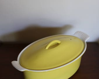 Vintage Yellow Descoware Enameled Cast Iron Dutch Oven