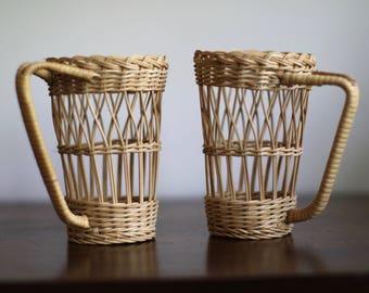 Vintage Wicker Cup Holders