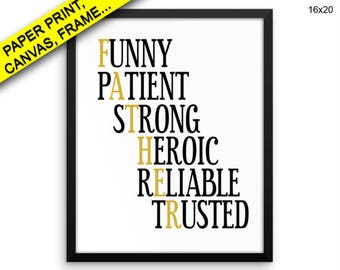 Father Printed Poster Father Framed Father Canvas Father black and gold father gift typography Print, Beautiful Wall Art with Frame Decor