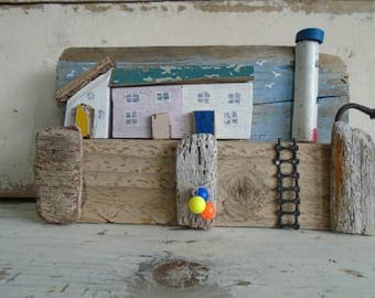 Cornish quayside made from driftwood from Solent beaches.
