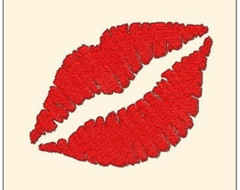Beautiful Red Kiss Lipstick Lips Machine Embroidery Pattern Instant Download