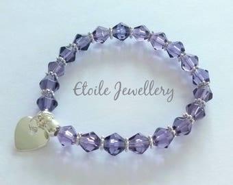 Purple Bracelet, Girls Bracelet, Childrens Bracelets, Silver Heart Bracelet,Glass Bead Bracelet, Stretch Bracelets, Ultra Violet Bracelet
