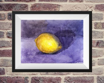 Watercolor Painting , Printable art, Home Art, Lemon Art, Fruit Watercolor, FineArt, Digital print, Kitchen Art, Home painting, Gift under 5