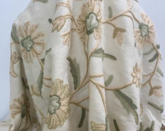 Vine & Tan Soft Green Flower Crewel Stitch Embroidered Wool - Sold by the Yard