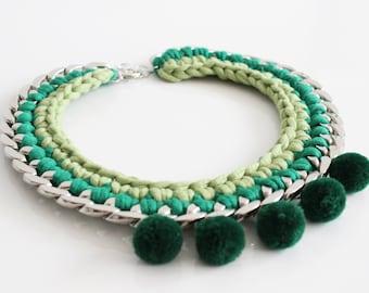 Chunky Statement Necklace, Pom Pom Necklace, Green Necklace, Bib Necklace, Summer Jewelry, Fiber Necklace, Crochet Necklace, Pompom Necklace