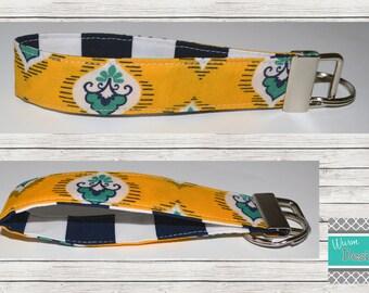 Navy/Yellow/Teal Striped Fabric Keychain, Key Fob, Wristlet Keychain, Wristlet Key Fob