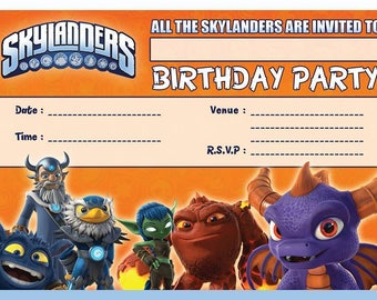 Skylanders A6 Children's Birthday Party Invitations