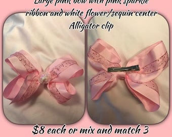 "6"" Hair bows with alligator clip"