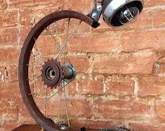 Upcycled Lamp, Bicycle Light, Bicycle Desk Lamp, Steampunk Table Lamp, Bike Desk Lamp, Table Lamp Steampunk, Bicycle Wheel, Wheel Lamp