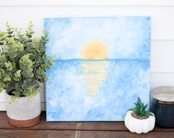 Sunset Reflection Over Water on 12x12 Canvas