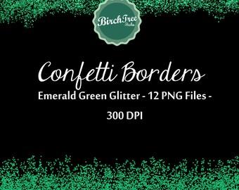 Confetti Clipart - Emerald Green Confetti Glitter Clipart - Invitation - Scrapbooking - Christmas Decoration - Paper -  Border