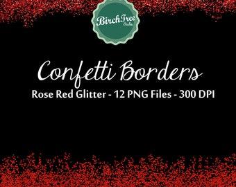 Digital Glitter Borders - Rose Red Confetti Glitter Clipart - Invitation - Scrapbooking - Christmas Decoration - Paper -  Border