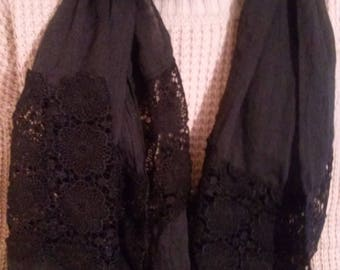 Scarf silk, cotton and lace color black