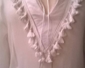 Cotton, viscose and white lace long sleeve blouse