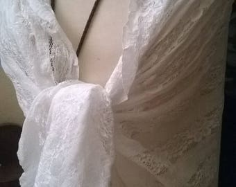 White lace wedding shawl