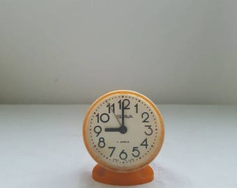 Soviet alarm clock Slava , Working mechanical alarm clock , Desk alarm clock , Soviet vintage Russian clock