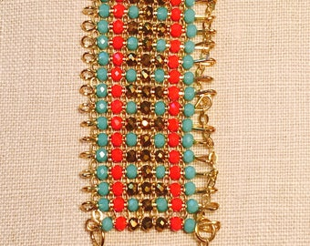 Chain and Bead Woven Summer Bracelet