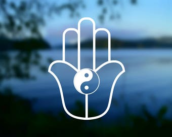DECAL {Hamsa - Yin Yang}  Hamsa Hand | Yin Yang Decal | Car Window Decal | Laptop Decal | Phone Decal | Vinyl Decal | Hamsa Sticker | Yeti