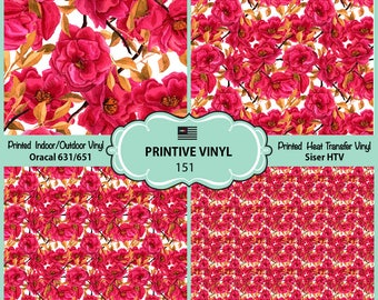 Watercolor camellia Printed Pattern Vinyl/Siser HTV/ Oracal/ Indoor Vinyl/ Outdoor Vinyl/ Heat Transfer Vinyl- 151