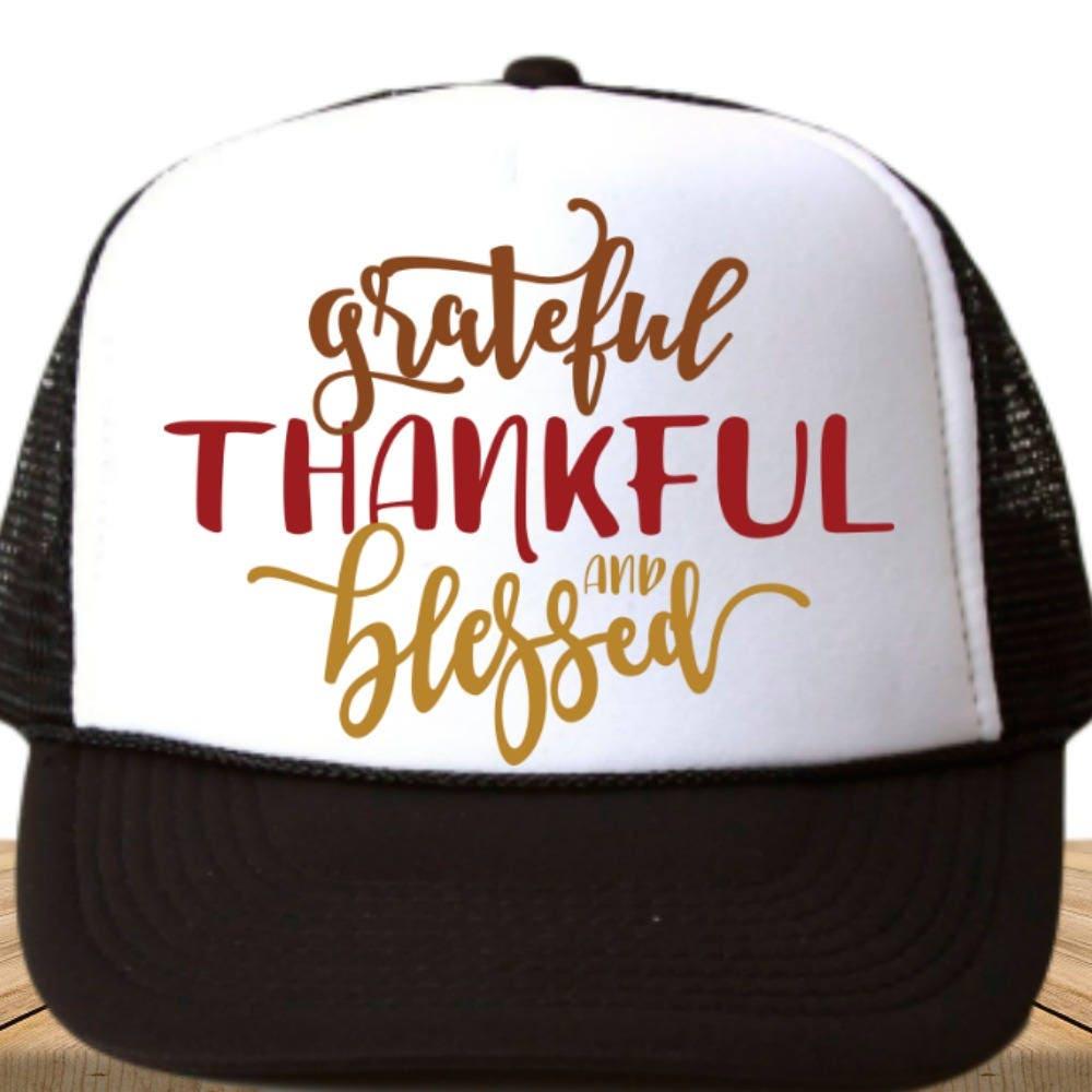 Adult Custom Trucker - Grateful Thankful Blessed - Men - Women - Girls - Baseball  Cap 03ed1841a127