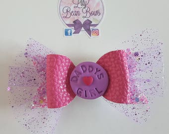 Daddy's girl father's day hair bow with handmade polymer clay centre