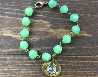 20 Gauge Shotgun Shell. Green Bracelet.