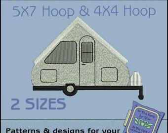 Aliner Camper Machine Embroidery Design - Camping Embroidery File - Filled Stitches