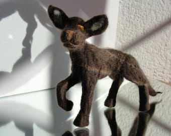 KURTIS ** Handmade, Delicate, Minature, Mythical Creature made from 100% Wool and Tiger Eye Gemstone