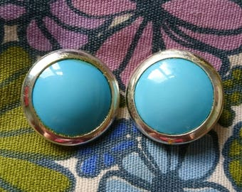 1980s Blue and Gold Clip On Earrings