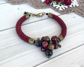 Marsala Red bracelet  Elegant bracelet  Beadwork jewelry  Gift for her  Women bracelet  Gift for mom