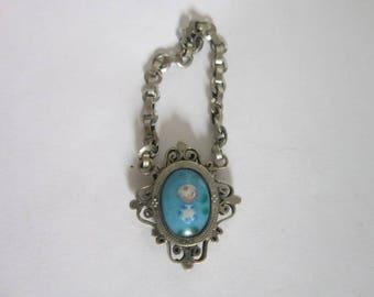 Antique Silver & Venetian Art Glass Necklace Pendant