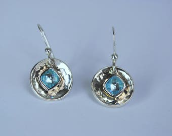 Cubic Zirconia Earrings, Aquamarine Earrings, Blue Earrings, Silver Circle Earrings, Silver Drop Earrings, Sterling Silver Earrings