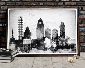 Black and White Louisville Skyline, Louisville Printable Cityscape, Kentucky Poster, Printable wall art, Digital Download, File for print