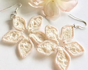 Lacy Flower Earrings Sterling Silver