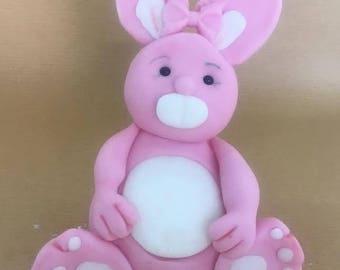 Large edible rabbit cake topper
