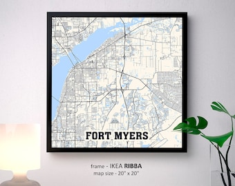 Fort Myers Florida Map Print, Fort Myers Square Map Poster, Fort Myers Wall Art, Fort Myers gift, Custom Personalized map