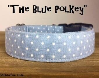 "Blue Polka Dot Dog Collar - ""The Blue Polkey"""