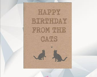 HAPPY BIRTHDAY From The CATS, Birthday Card  From The Cats, Birthday Card From Cats