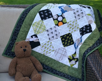 Camo Baby Quilt - Baby Boy Quilt - Army Quilt - Pirate Quilt - Baby Shower Gift - Diamond Quilt - Present for Baby - Handmade Baby Quilt