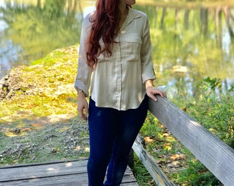 Beige Golden blouse long sleeves blouse, womans clouths longs sleaf woman, woman clouth any ocation, baby shower woman blouse, blouse gold