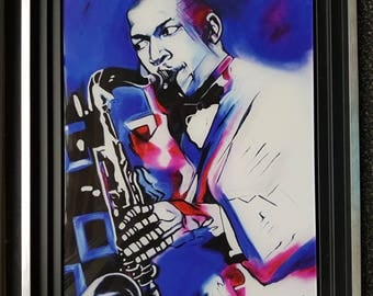 Painting of John Coltrane, printed on plexi Morgane Monnet, signed on the back