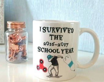 Funny Teacher Mug for class of 2016-2017 year trends gift with fidget spinner bottle flip and dab Teacher gift