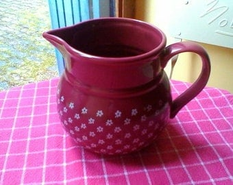 Lovely dark red and white Södahl milk jug - vintage Danish design jug