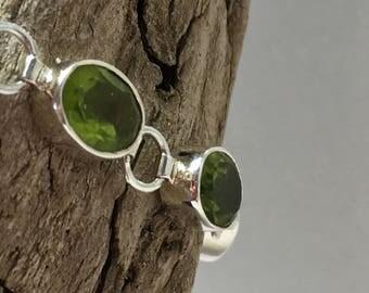 Sterling Silver Bracelet with 10 green Peridot gemstones